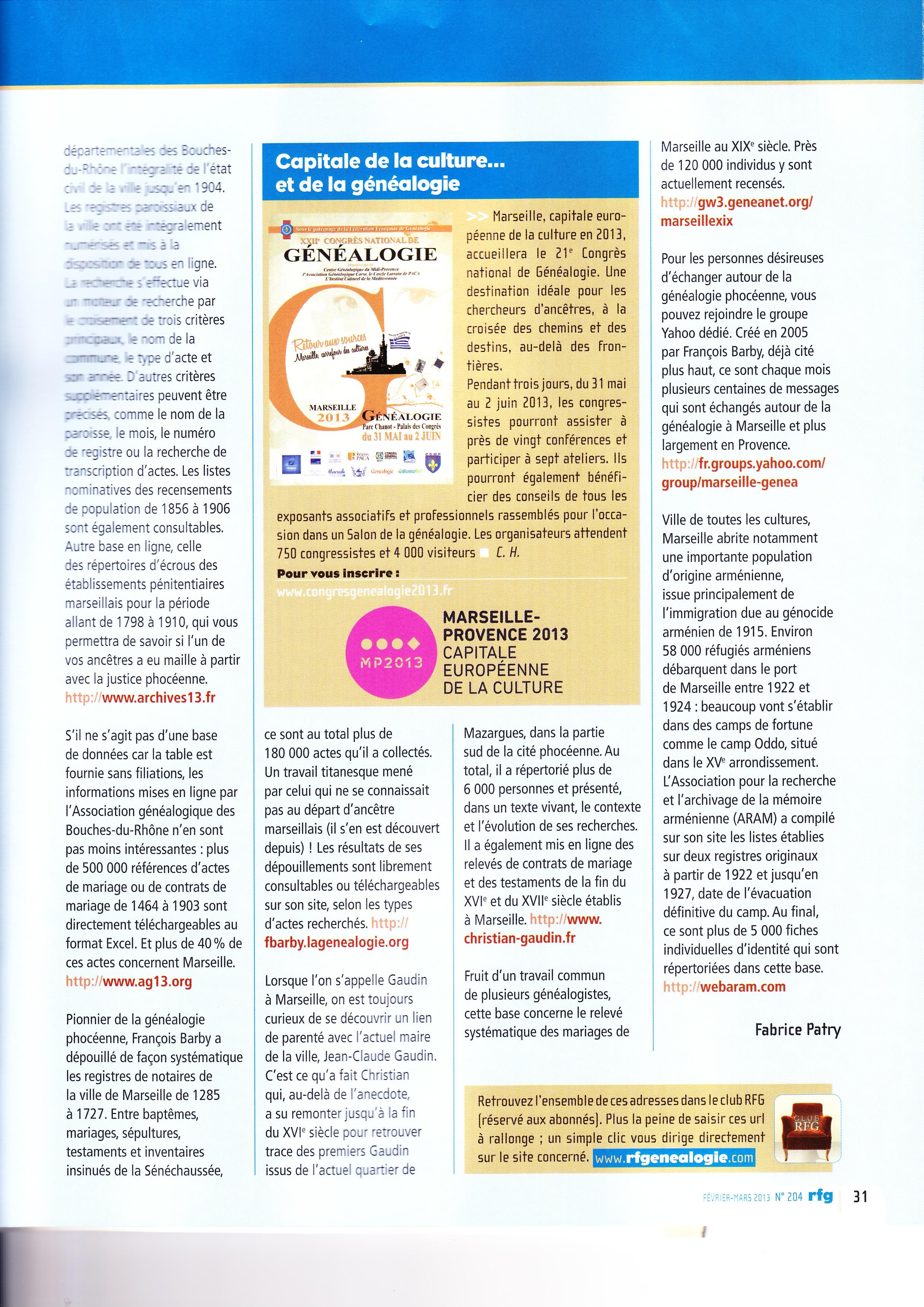 Généalogie Marseille 2013 (2)