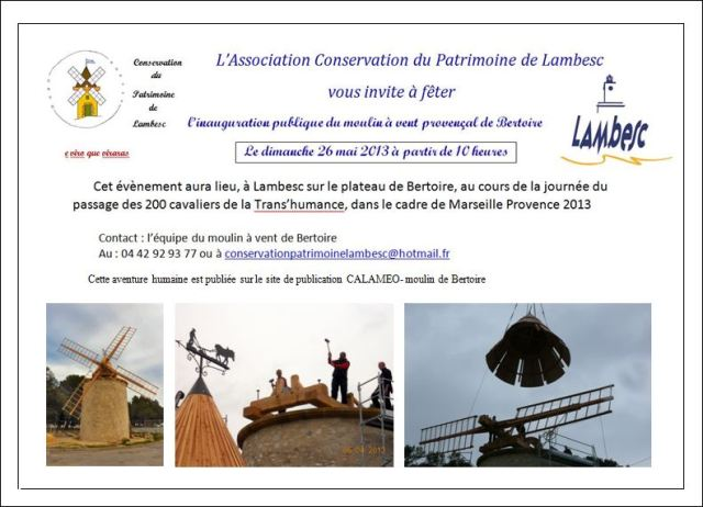 Invitation pour l'inauguration du moulin