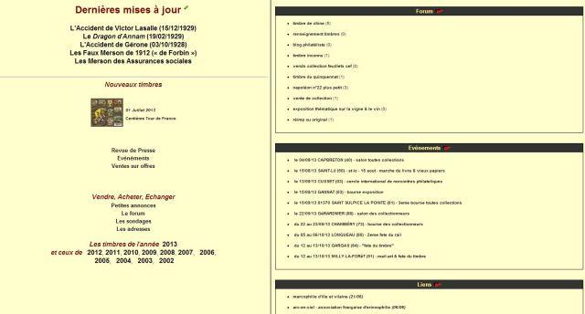 Actualités philatéliques du mois d'Août 2013
