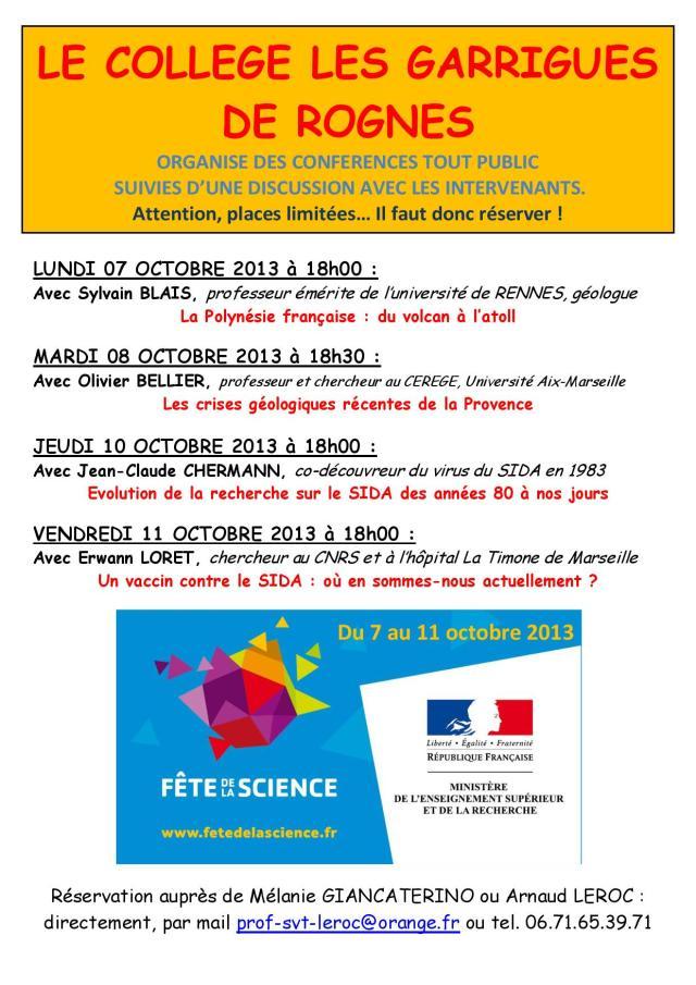Planning conférences FDS Rognes