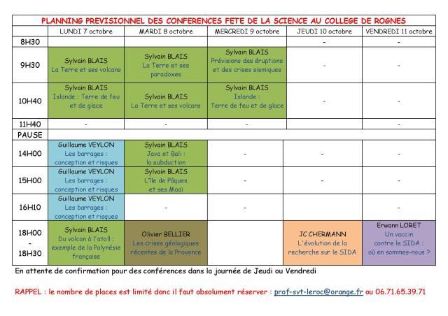 Planning conférences FDS