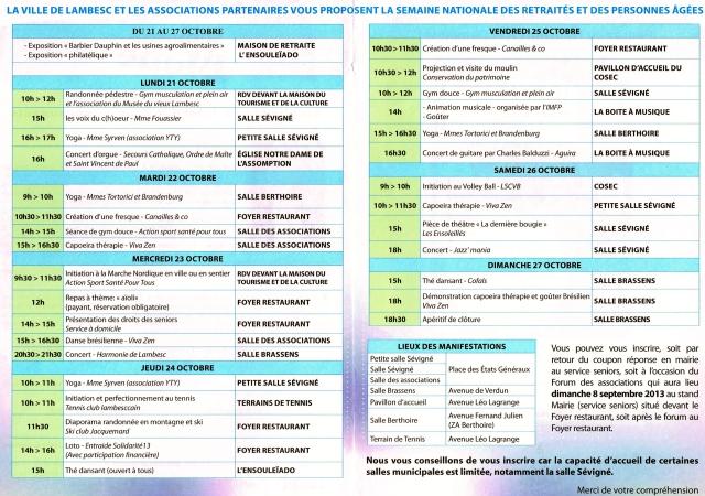 Semaine Bleue du 21 au 27 Octobre