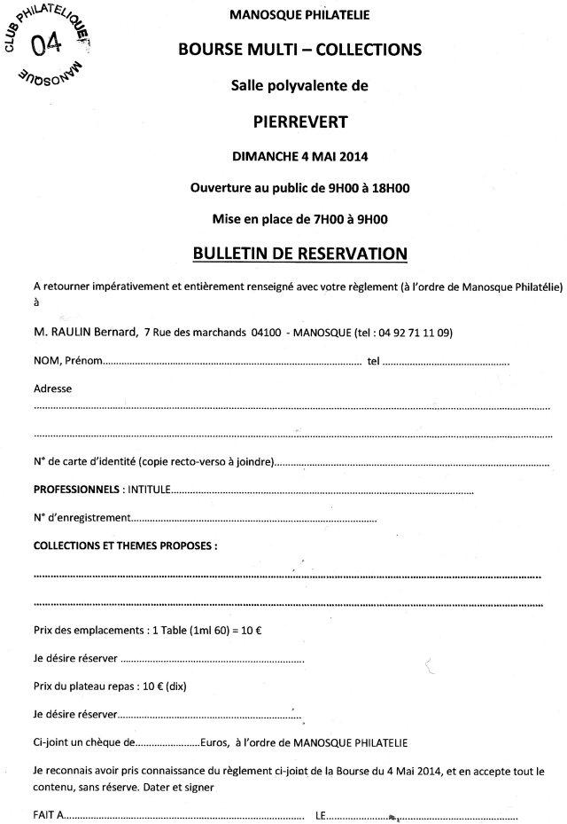bulletin réservation