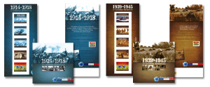"""La collection """"Mémoire de guerres"""" est composée de deux collectors de 5 timbres, également disponibles en livret ou en coffret."""