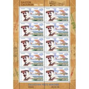 """Mini-feuille du timbre """"Gaston Caudron"""", tirage 35 000 exemplaires."""
