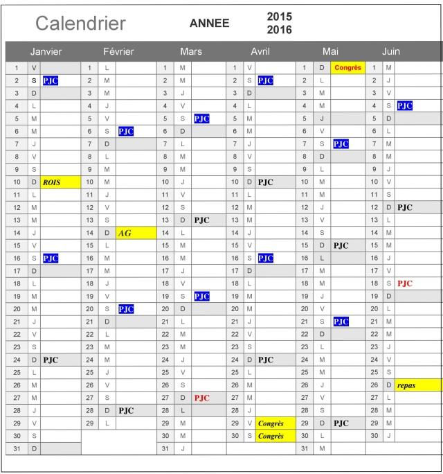Calendrier 2015/2016