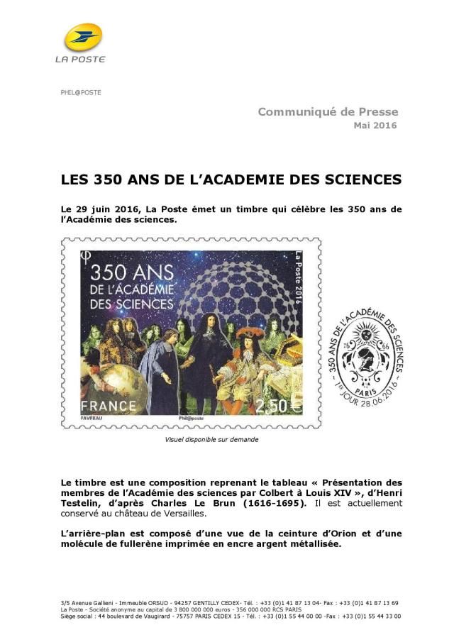 CP 350 Académie des Sciences 2016
